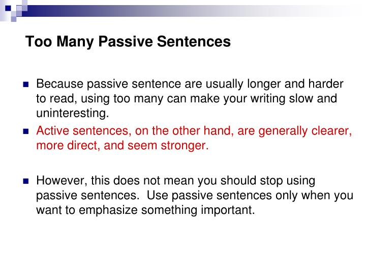 Too Many Passive Sentences