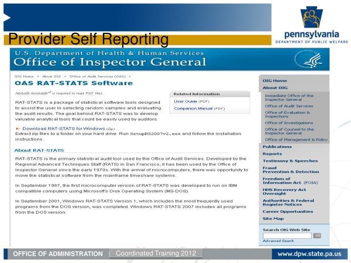 Provider Self Reporting