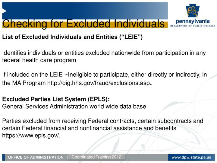 Checking for Excluded Individuals