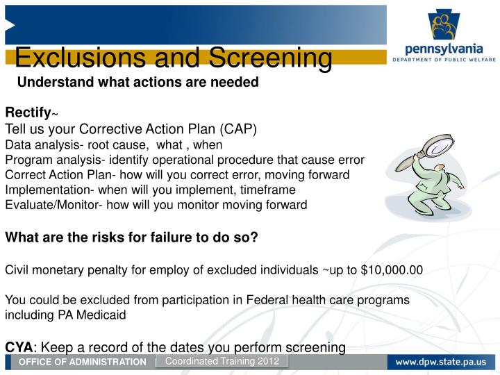 Exclusions and Screening