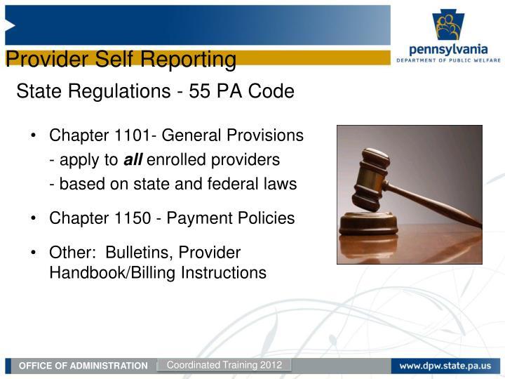 State Regulations - 55 PA Code