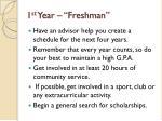 1 st year freshman