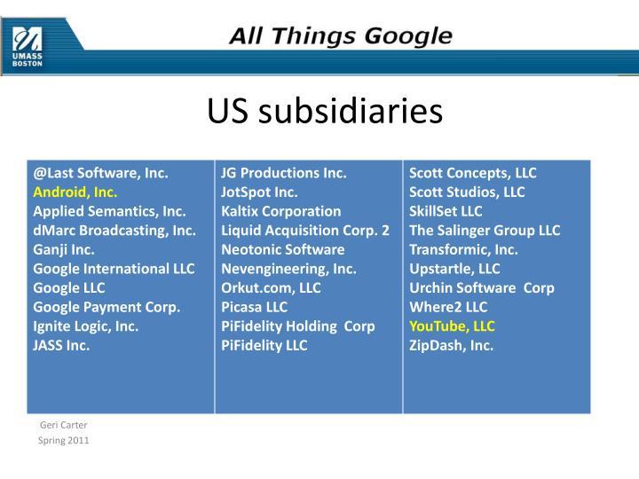 US subsidiaries