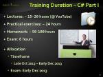 training duration c part i