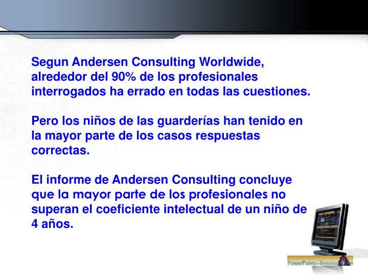 Segun Andersen Consulting Worldwide, alrededor del 90% de los profesionales interrogados ha errado en todas las cuestiones.