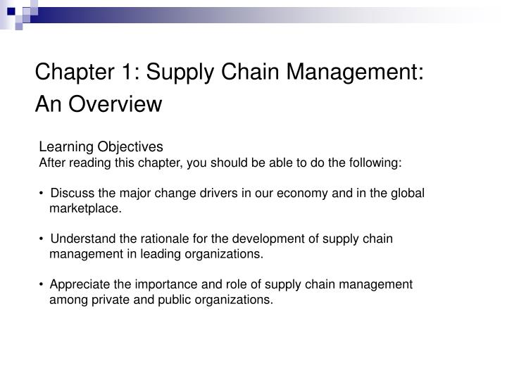 Chapter 1: Supply Chain Management: