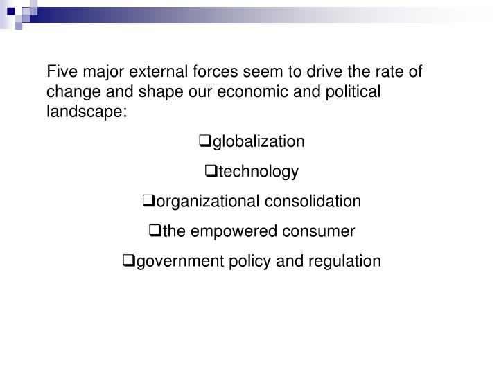 Five major external forces seem to drive the rate of change and shape our economic and political lan...