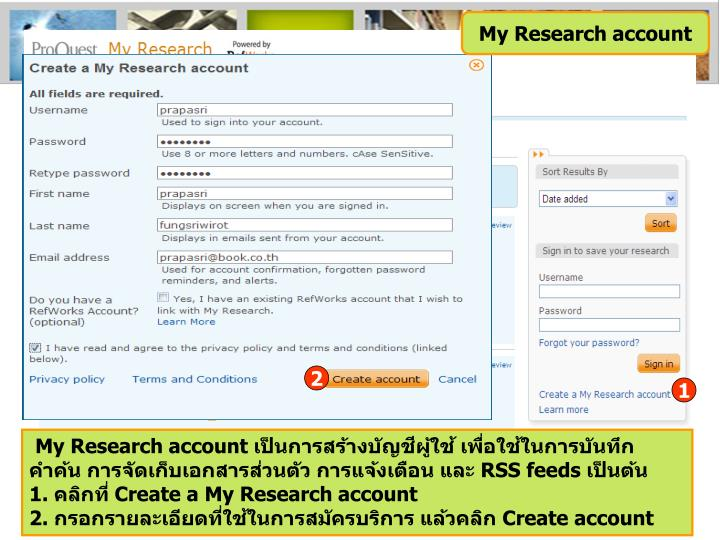 My Research account