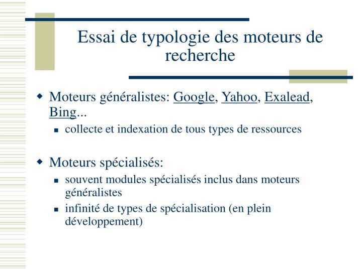 Essai de typologie des moteurs de recherche