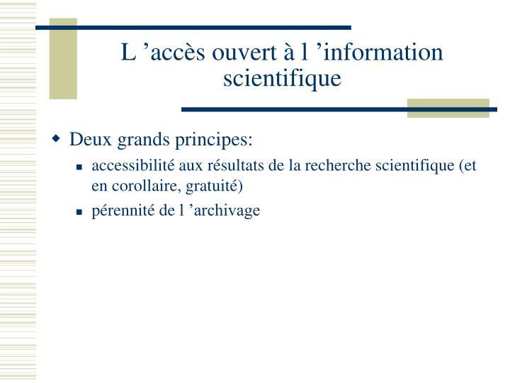 L'accès ouvert à l'information scientifique