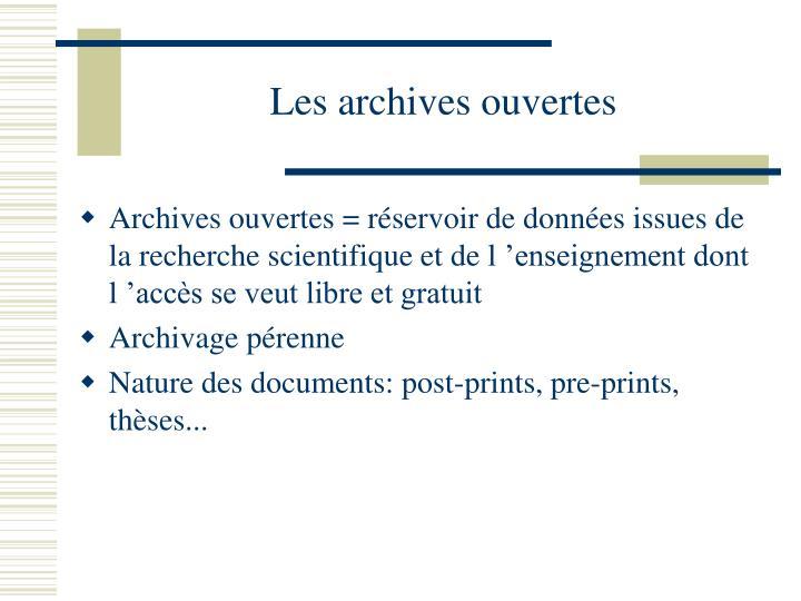 Les archives ouvertes