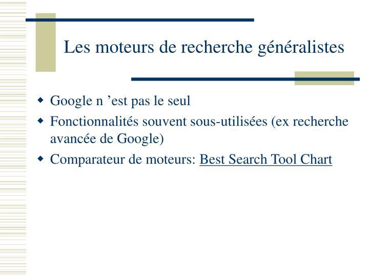 Les moteurs de recherche généralistes