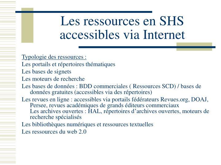 Les ressources en SHS accessibles via Internet
