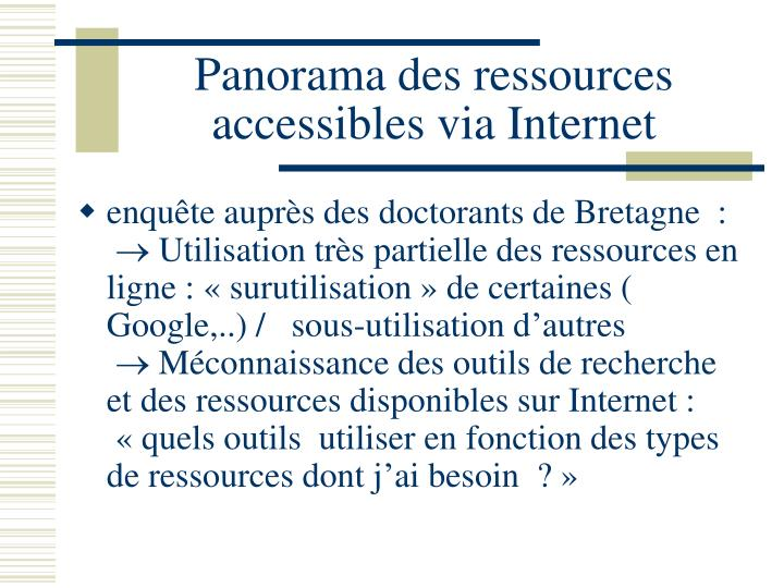 Panorama des ressources accessibles via Internet