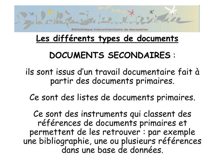 DOCUMENTS SECONDAIRES