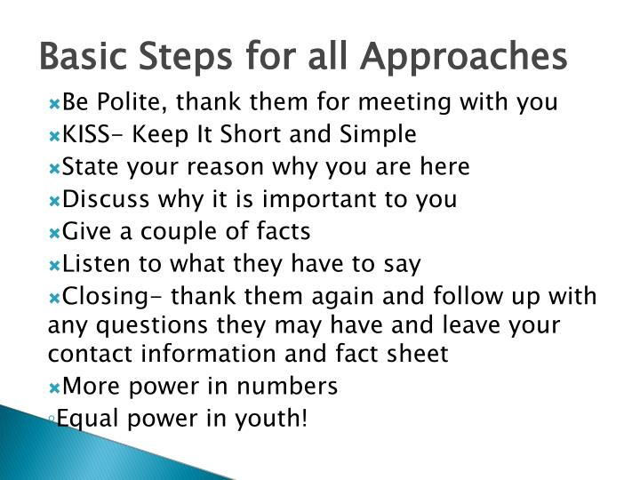 Basic Steps for all Approaches