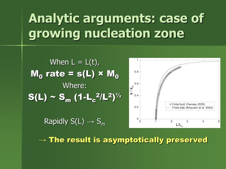 Analytic arguments: case of growing nucleation zone