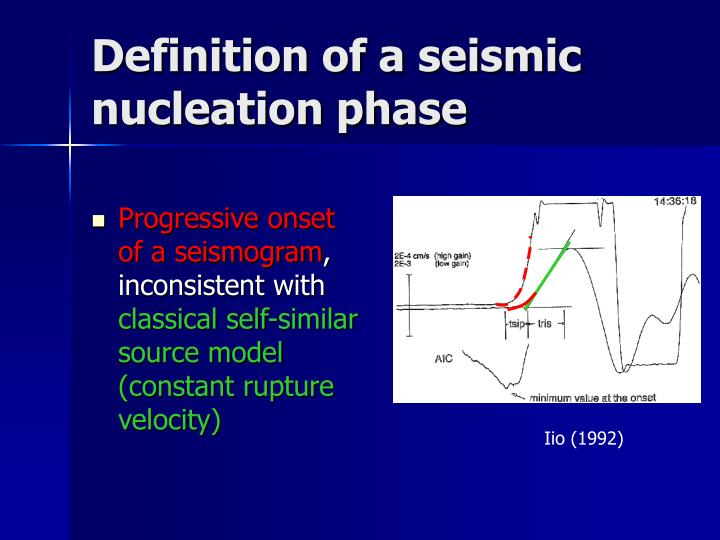 Definition of a seismic nucleation phase