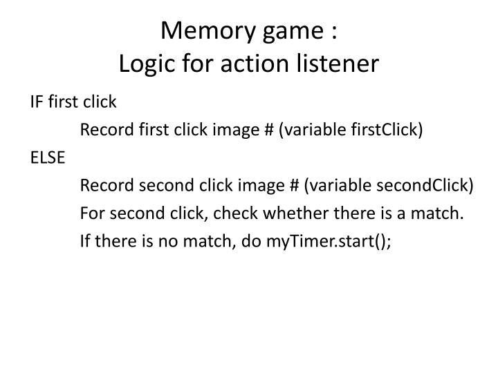 Memory game :