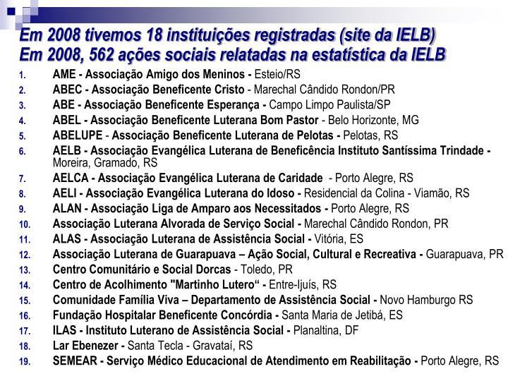 Em 2008 tivemos 18 instituições registradas (site da IELB)