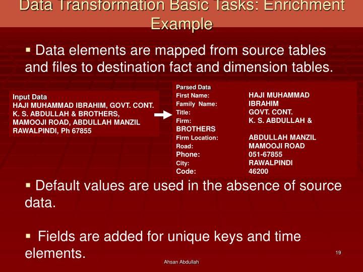 Data Transformation Basic Tasks: Enrichment Example