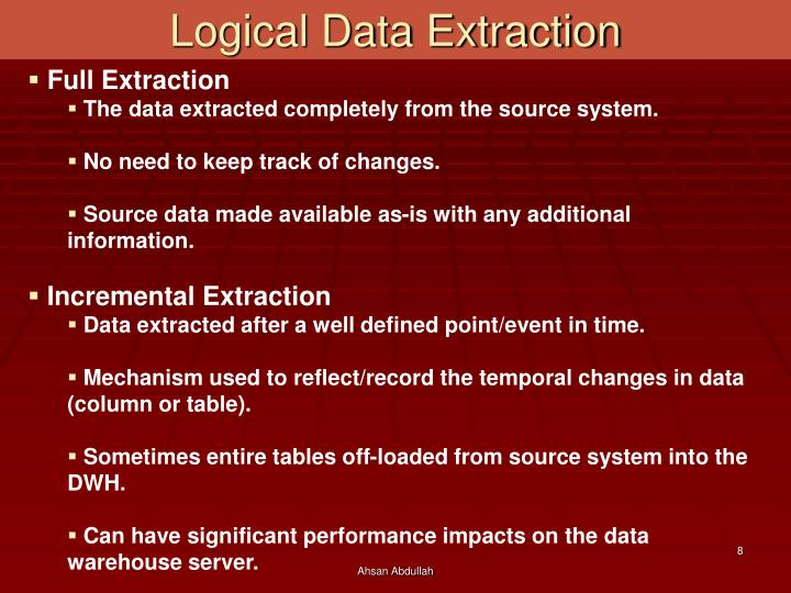 Logical Data Extraction