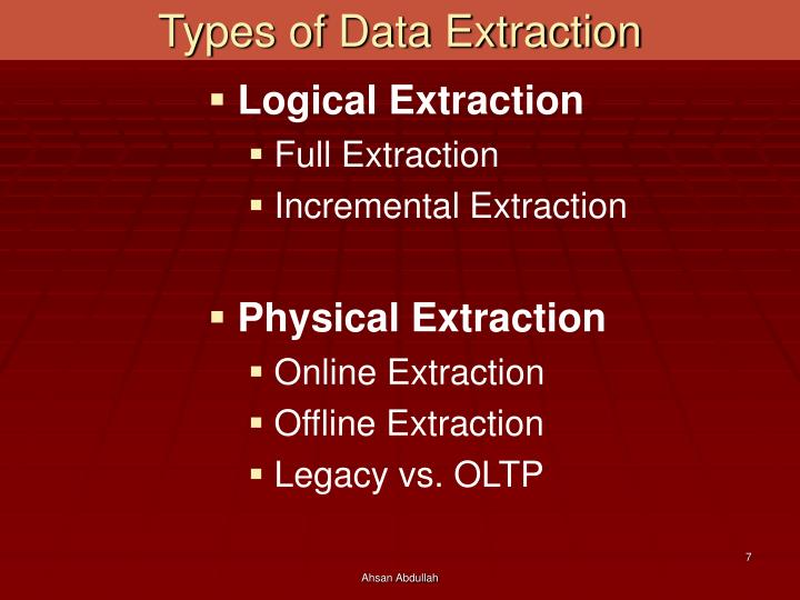 Types of Data Extraction