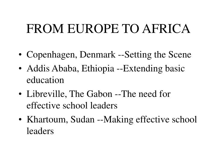 From europe to africa