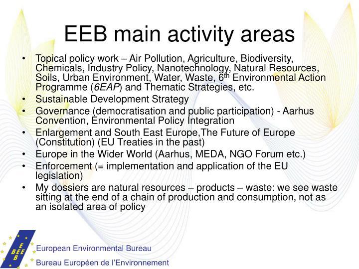 Eeb main activity areas