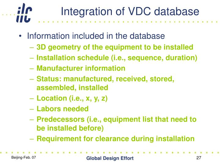 Integration of VDC database