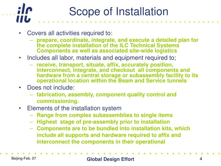 Scope of Installation