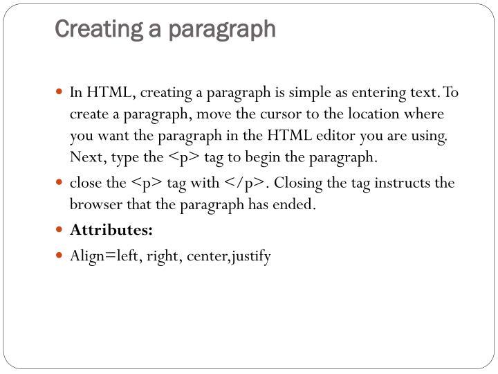 Creating a paragraph