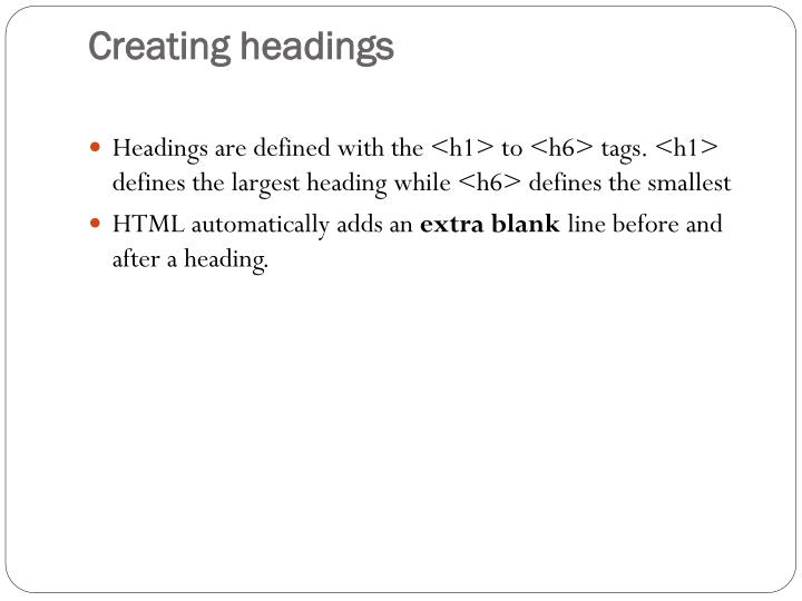 Creating headings