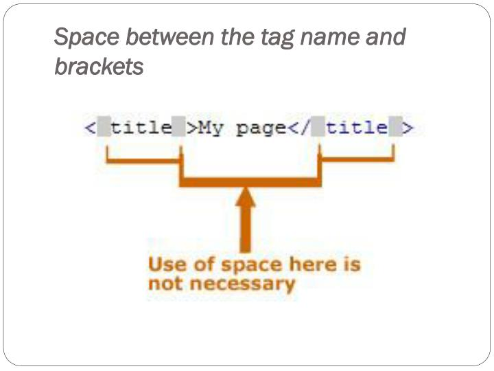 Space between the tag name and brackets