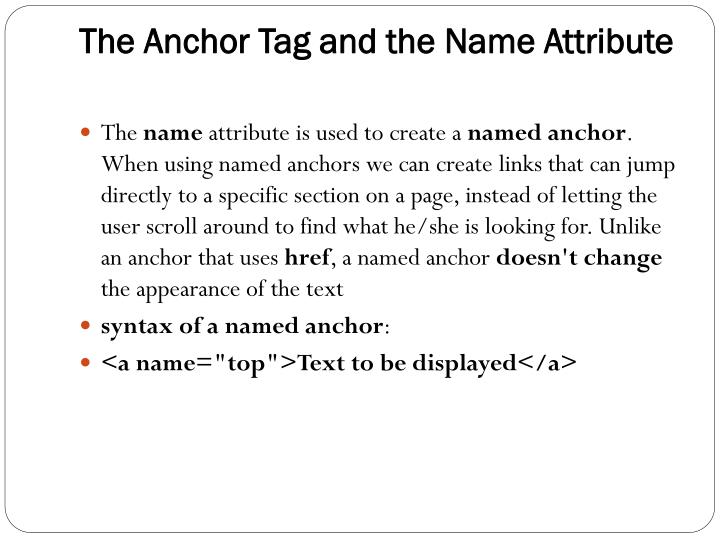 The Anchor Tag and the Name Attribute