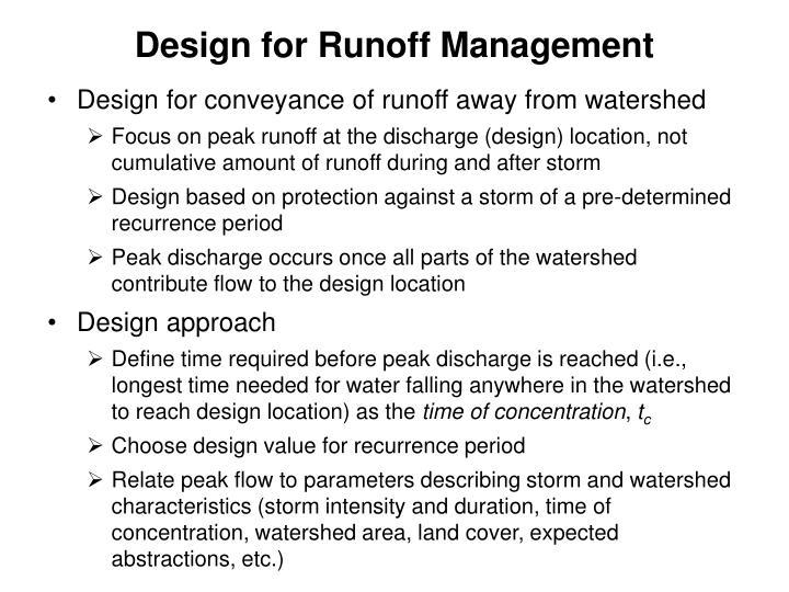 Design for Runoff Management