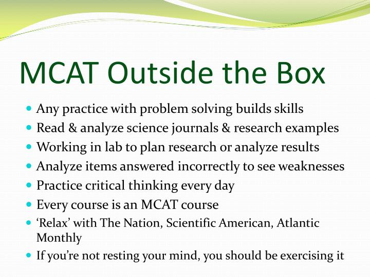 MCAT Outside the Box