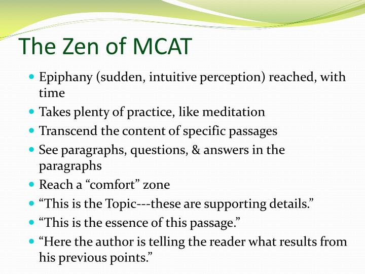 The Zen of MCAT