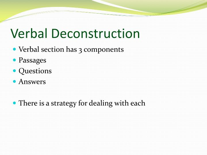 Verbal Deconstruction