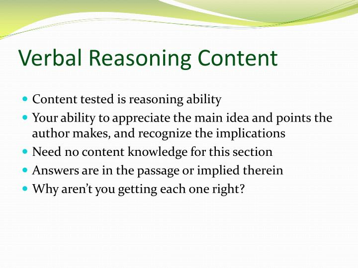 Verbal Reasoning Content