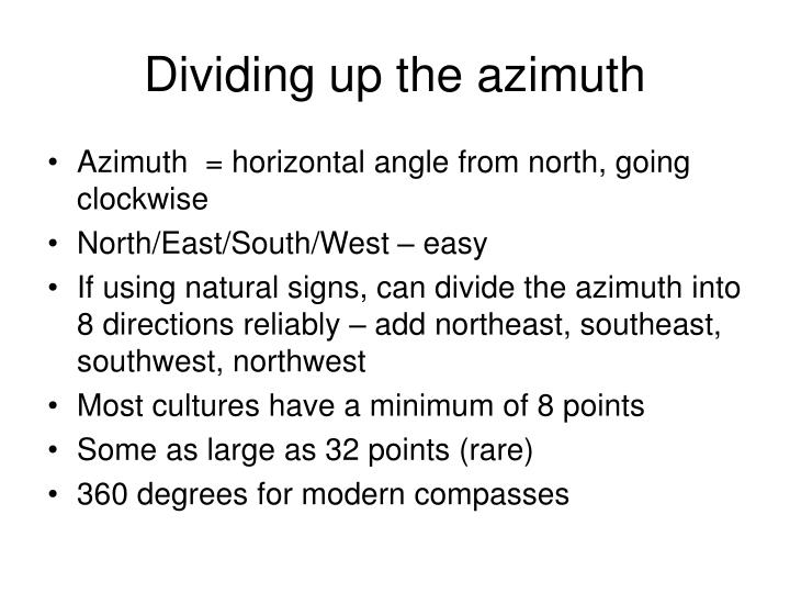 Dividing up the azimuth
