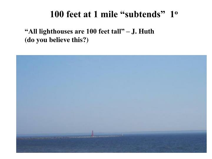 """100 feet at 1 mile """"subtends""""  1"""