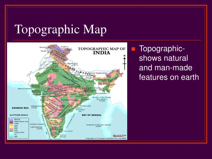 Topographic- shows natural and man-made features on earth
