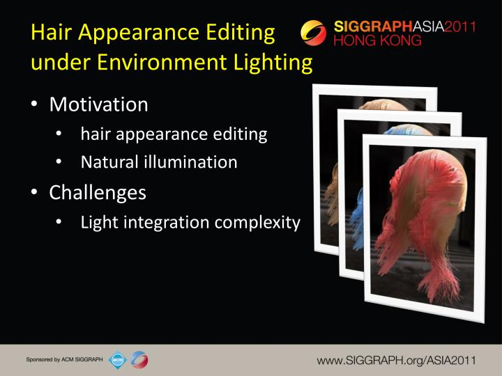 Hair appearance editing under environment lighting