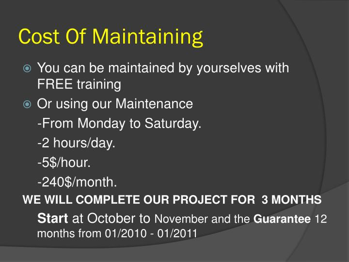 Cost Of Maintaining