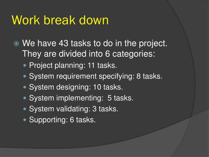 Work break down