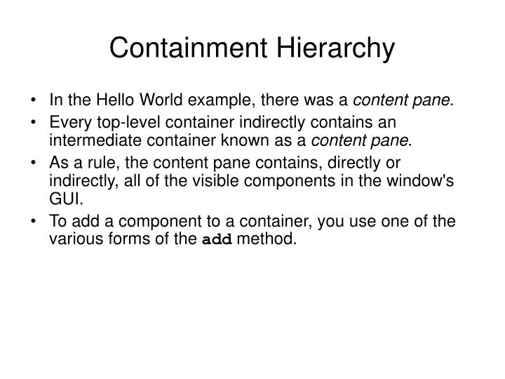 Containment Hierarchy