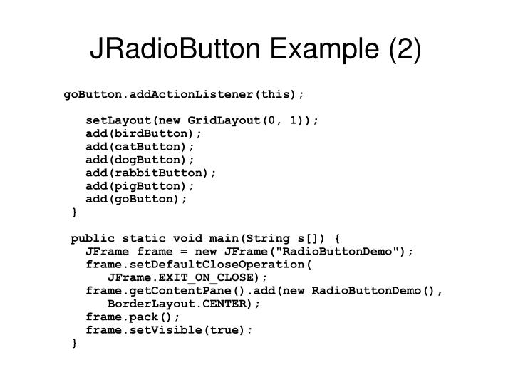 JRadioButton Example (2)