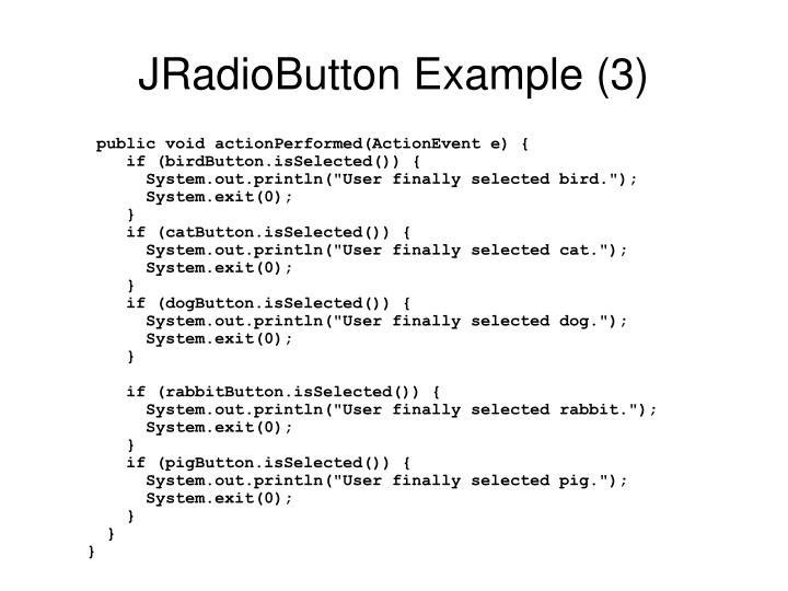 JRadioButton Example (3)