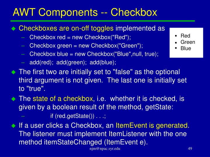 AWT Components -- Checkbox